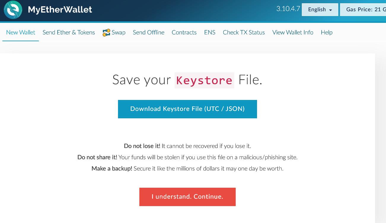 MyEtherWallet Keystore