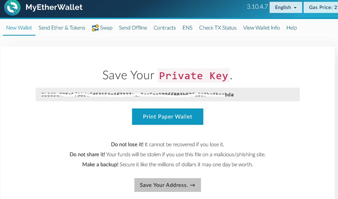 MyEtherWallet Private Keys