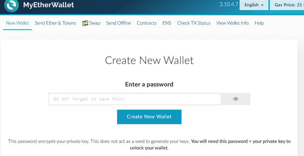 My Ether Wallet Opening Page